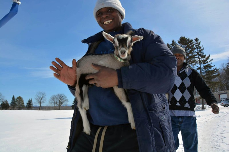 Theogene Mahoro, a Rwandan refugee who was resettled in Burlington, Vt., is one of the newest members of the Vermont Goat Collaborative. The project connects new Americans with baby goats to raise and sell for slaughter.